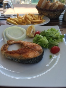 Salmon And Chips at Orasi Burasi, Buyukada Island, Istanbul