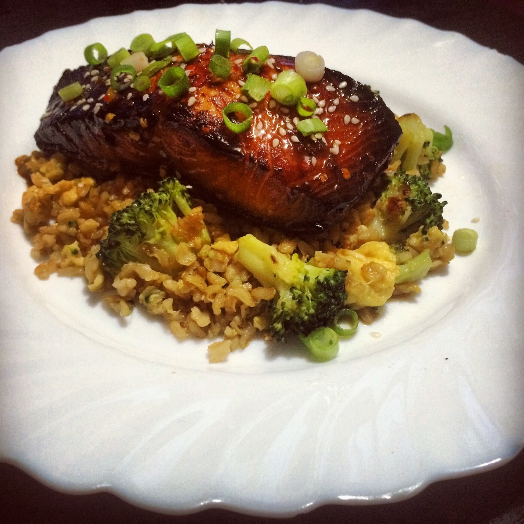 Soy-Honey Glazed Salmon With Broccoli Egg Fried Rice