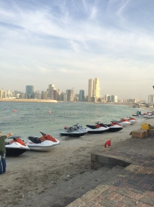 Jet Skis Lined Up In Al Khan, Sharjah, UAE
