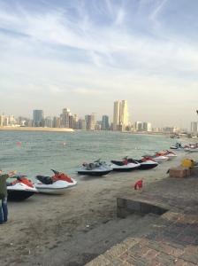 Jet Skis Lined Up In Al Khan, Sharjah, UAE