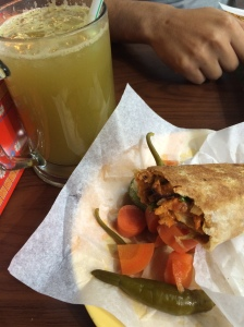 Spicy Shawarma Wrap and Sugar Cane Juice, Deira, Dubai