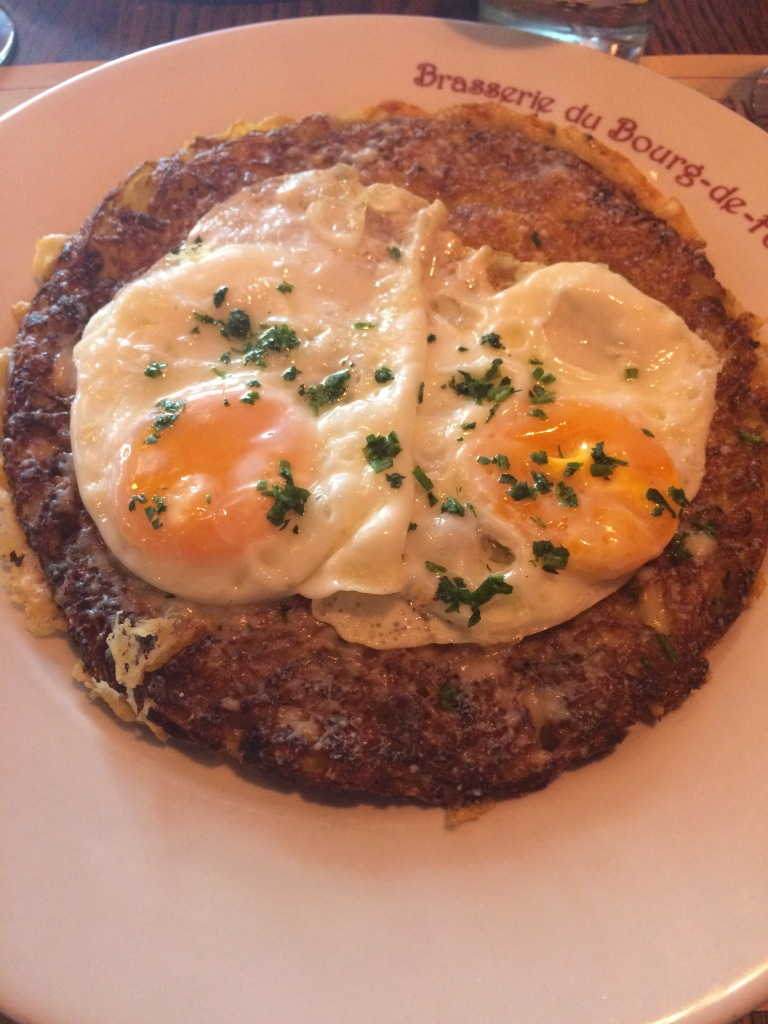 Potato & Cheese Rosti With Fried Eggs, Cafe Du Bourg De Four, Geneva, Switzerland