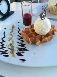 Waffles With Vanilla Icecream And Raspberry Coulis, Movenpick, Geneva, Switzerland