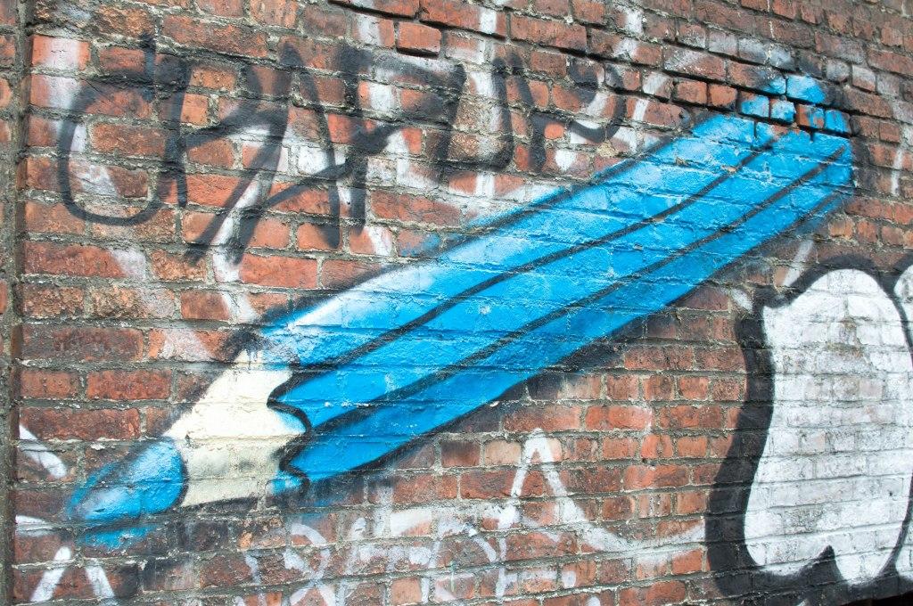 Blue Pencil Graffiti Street Art, Brussels, Belgium