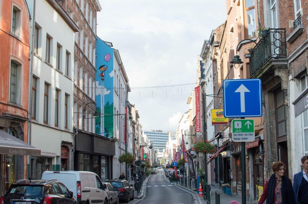 Boy With Balloon, Graffiti Street Art, Brussels, Belgium
