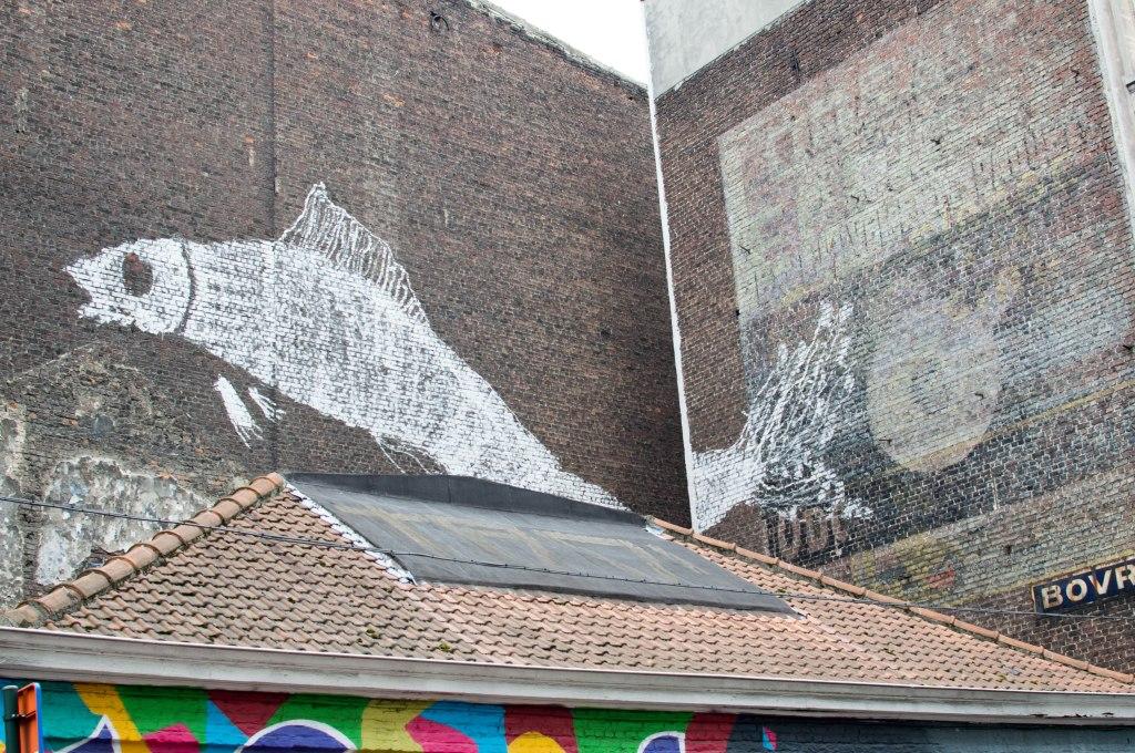 Fish Graffiti Street Art, Brussels, Belgium