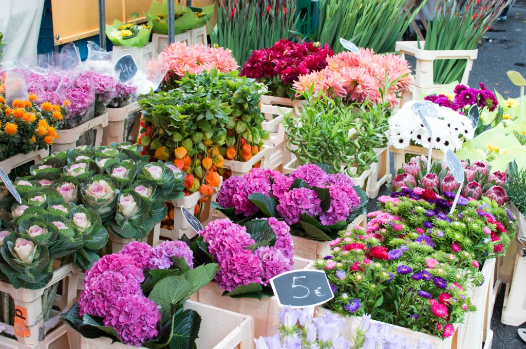 Flowers At The Place du Châtelain Farmers Market, Brussels, Belgium