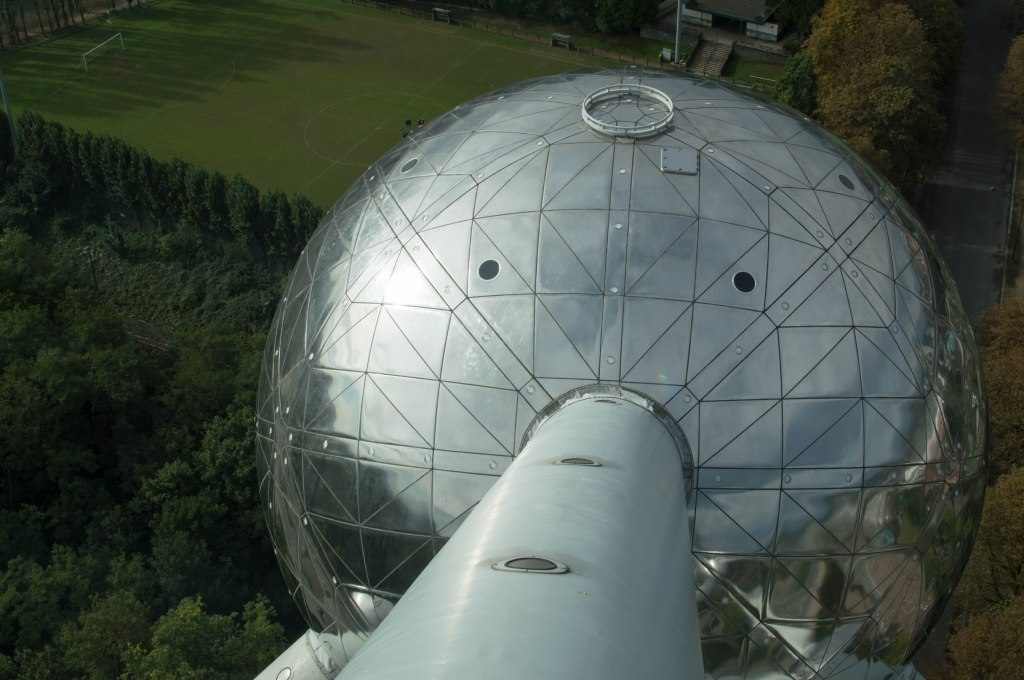 Looking Down At The Atomium, Brussels, Belgium