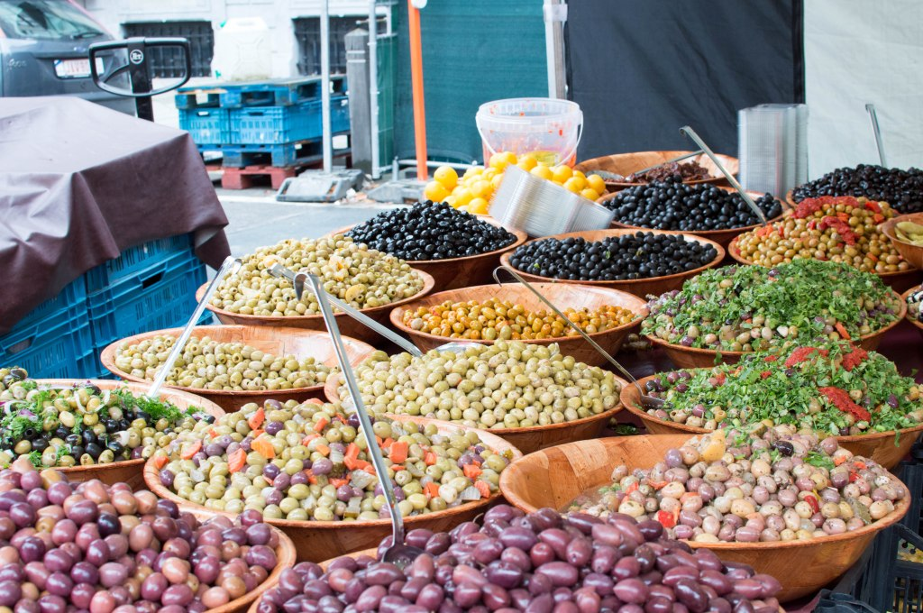 Olives At The Place du Châtelain Farmers Market, Brussels, Belgium