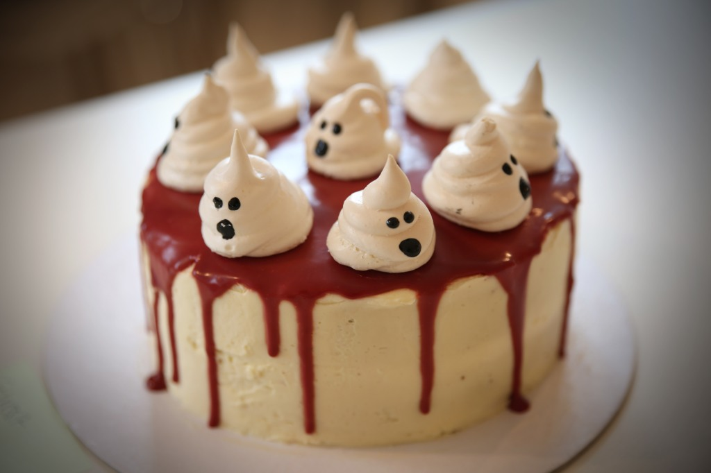 Red Velvet Cake With Ghost Meringue