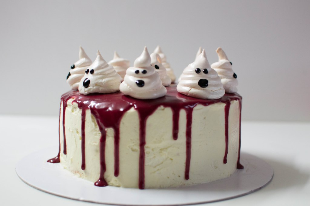 Red Velvet Cake With Ghost Meringues