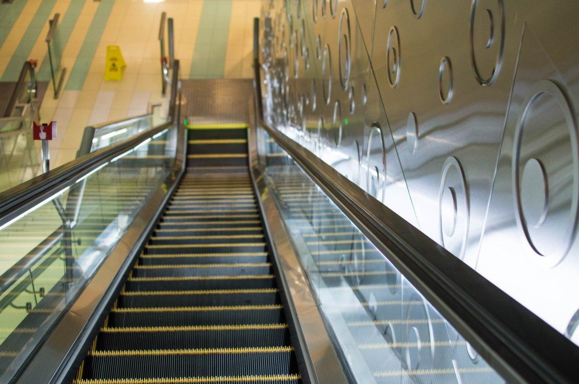 Escalators, Deira Metro Station, Dubai, UAE