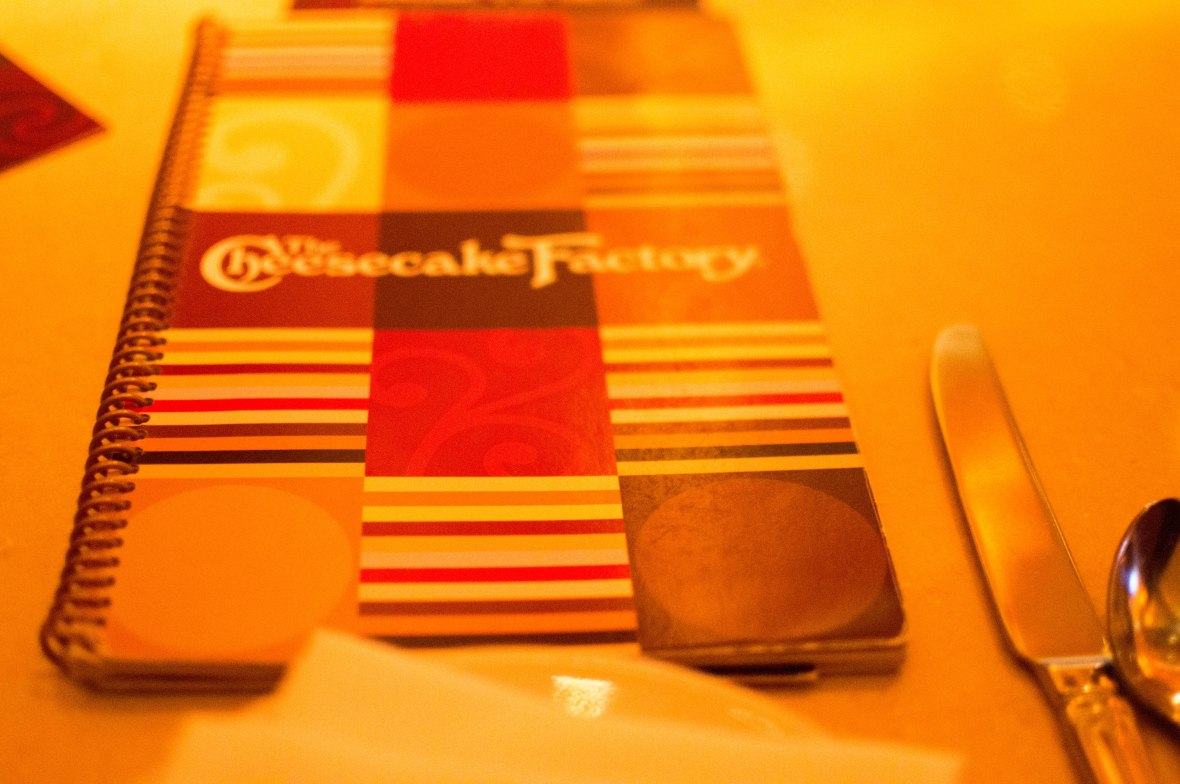 Menu, The Cheesecake Factory, JBR, Dubai, UAE