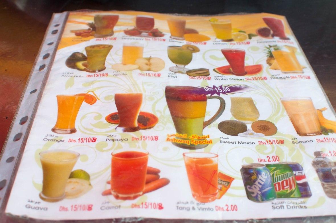 Smoothie Menu, Ashwaq Cafeteria, Deira, Dubai, UAE
