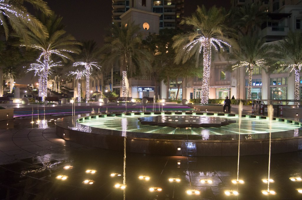 Water Fountain At Night, Dubai Marina, Dubai, UAE