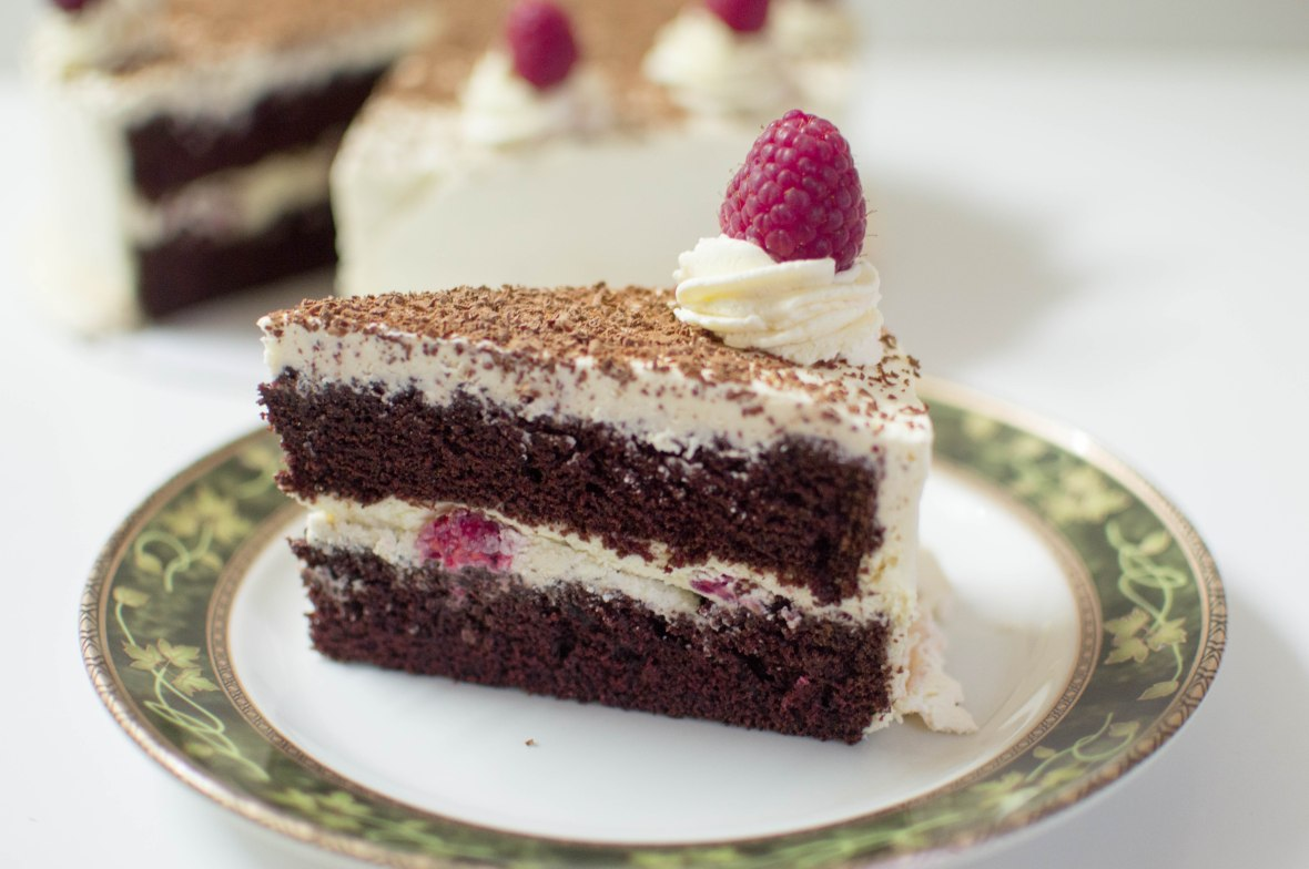Chocolate Cake With Raspberry & Cream Frosting