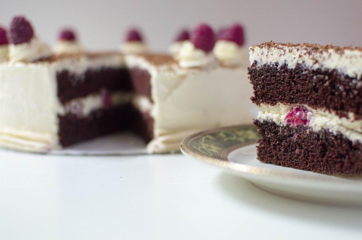 Chocolate Cake With Raspberry & Cream Icing
