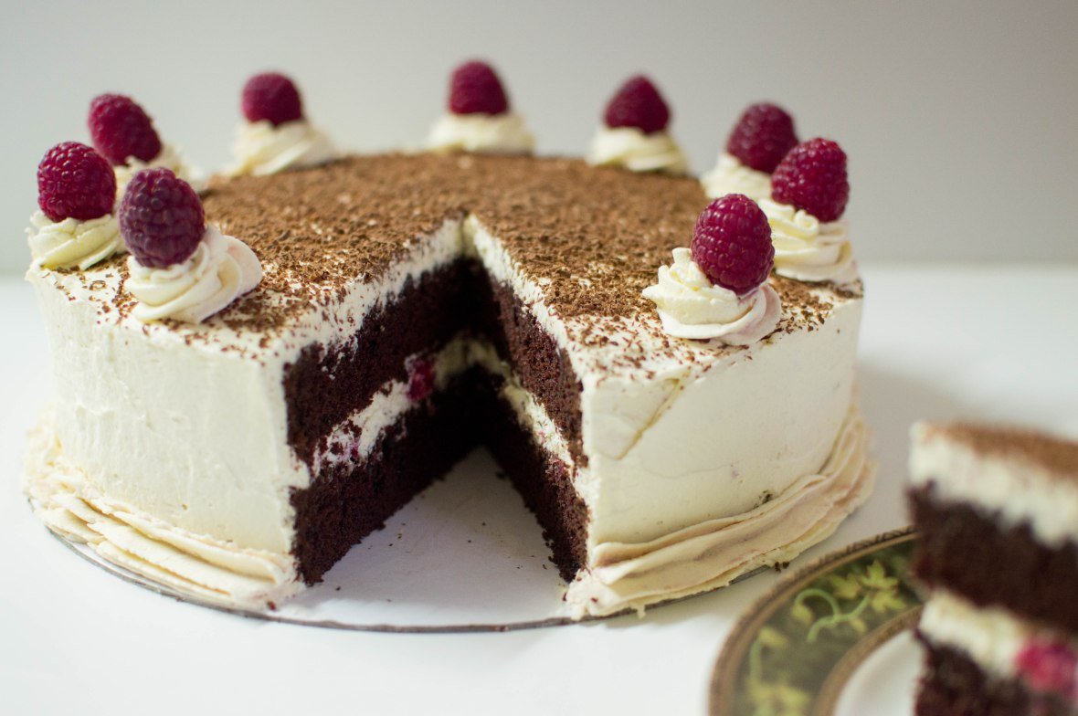 Chocolate Cake with Raspberry Whipped Cream