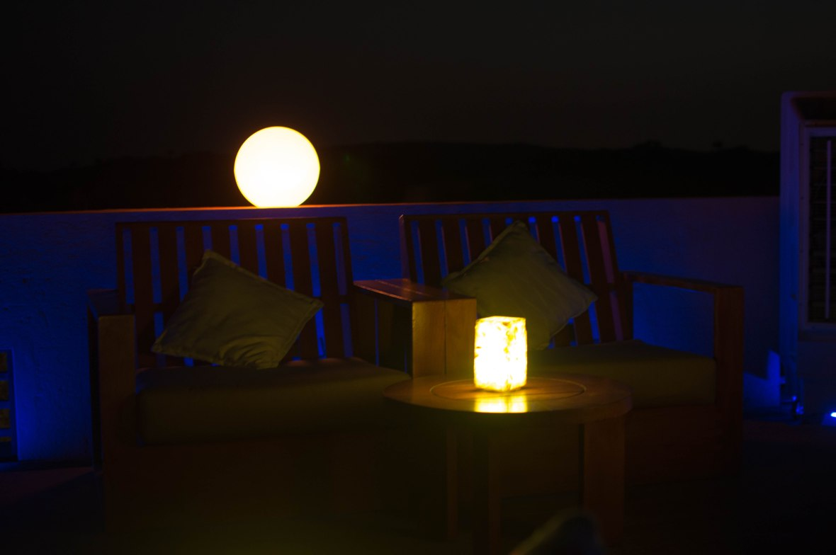 Blue Lighting In The Dark, Moon Bar, Banyan Tree Al Wadi, Ras Al Khaimah, UAE