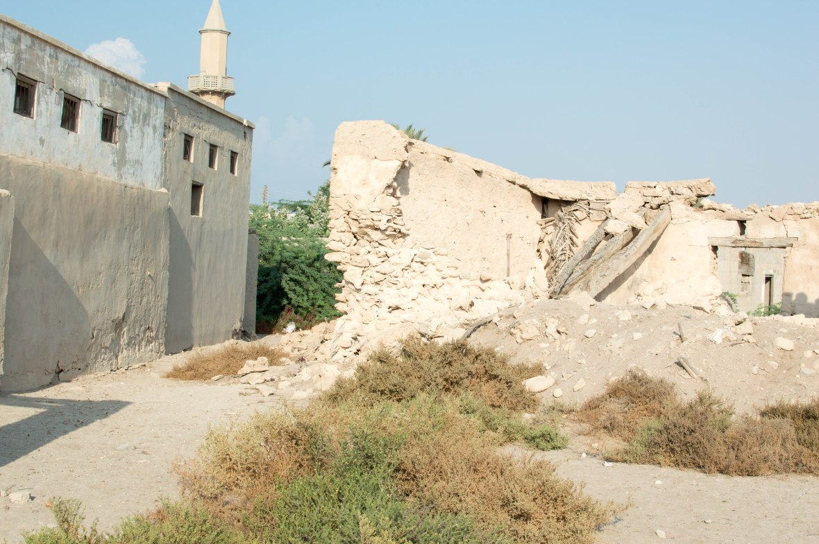 Broken Building And Mosque, Abandoned City, Al Jazirat Al Hamra, Ras Al Khaimah, UAE