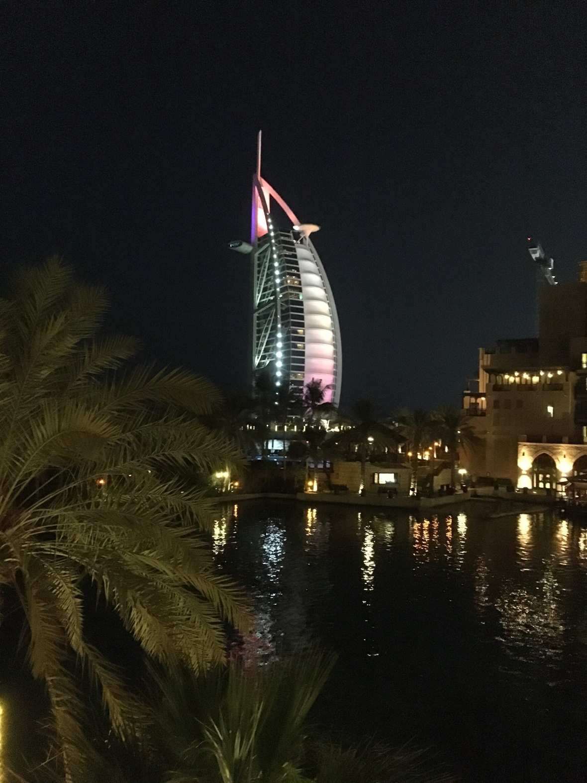 Burj Al Arab At Night From Bahri Bar, Madinat Jumeirah, Dubai, UAE