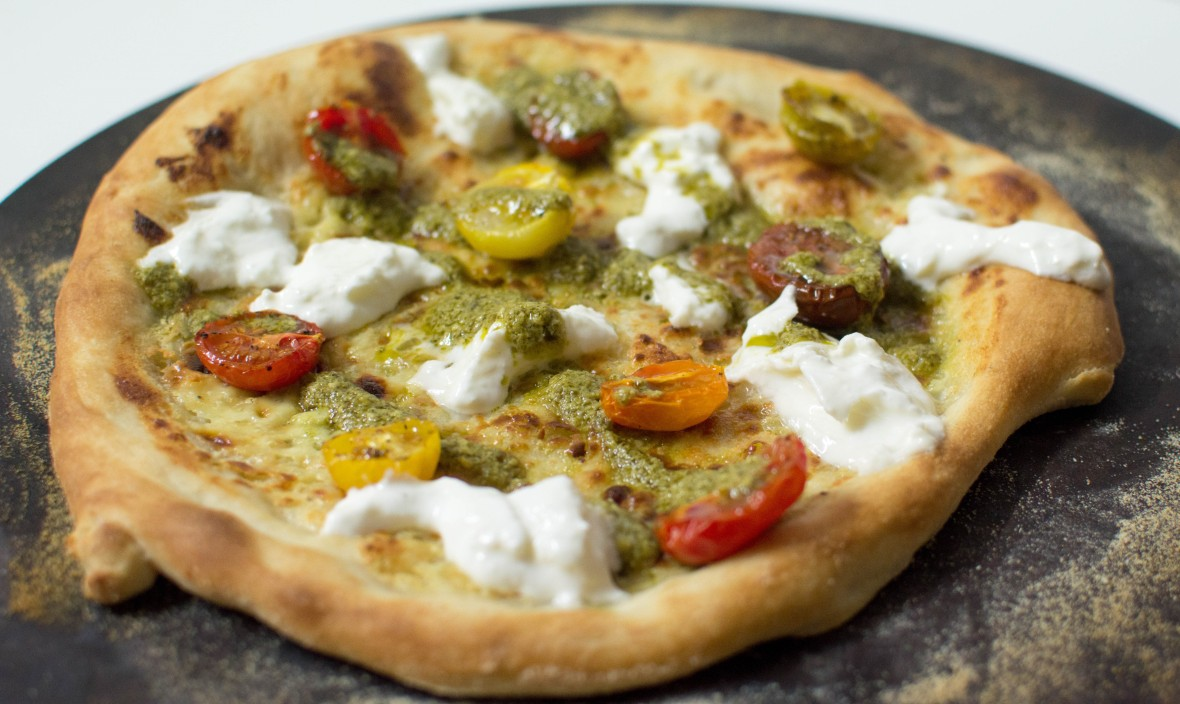Burrata, Tomato and Pesto Pizza