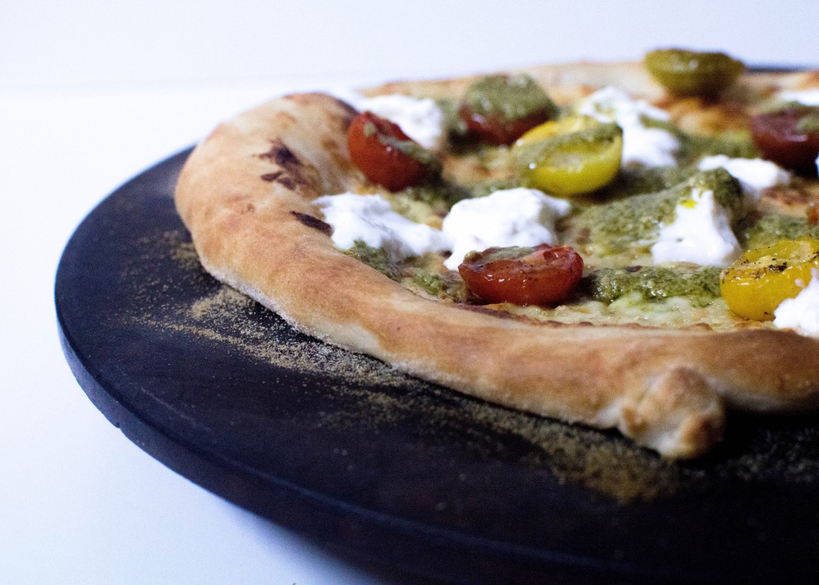 Cherry Tomato, Burrata And Pesto Cream Based Pizza