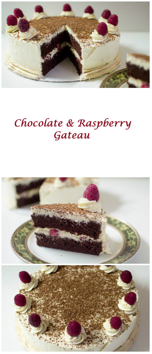Chocolate and raspberry gateau