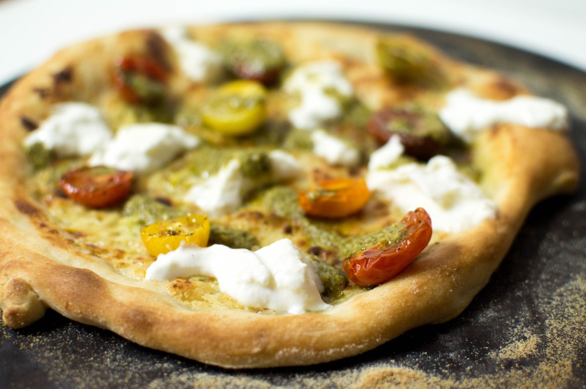 Cream Sauce Based Pizza With Burrata, Slow Roast Cherry Tomatoes And Pesto