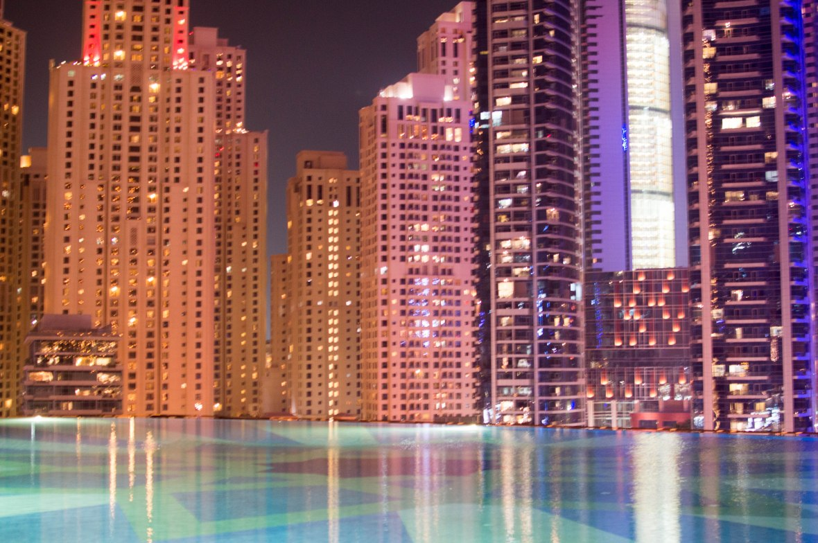 Infinity Pool & Buildings, Shades at The Address Dubai Marina, Entrance, Dubai, UAE