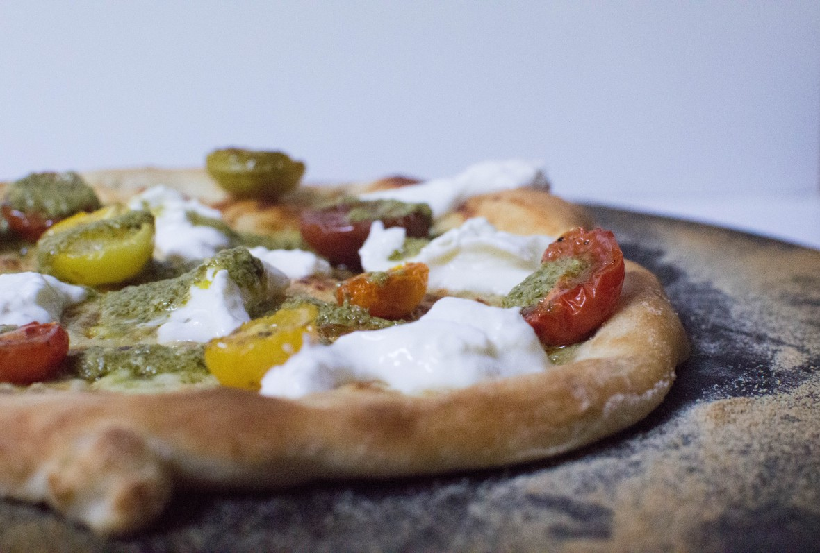 Slow Roast Cherry Tomato, Burrata And Pesto Cream Based Pizza