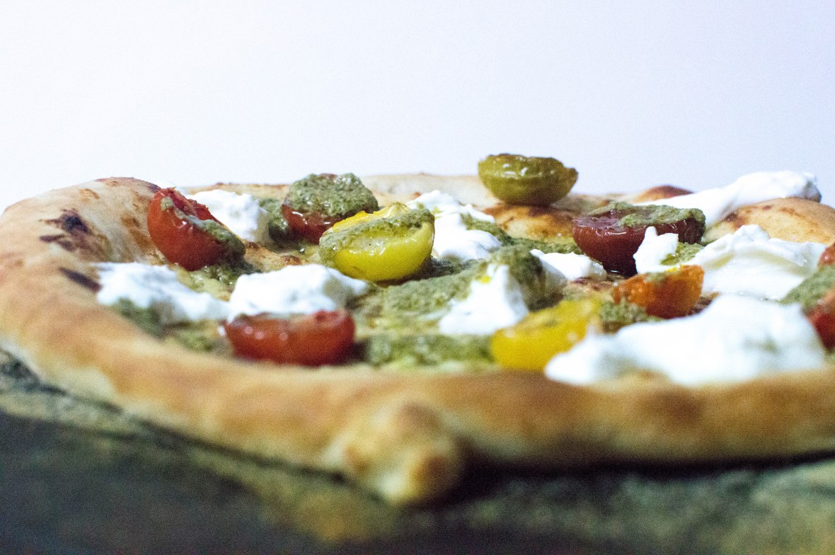 White Pizza With Cherry Tomatoes, Burrata And Pesto Drizzle