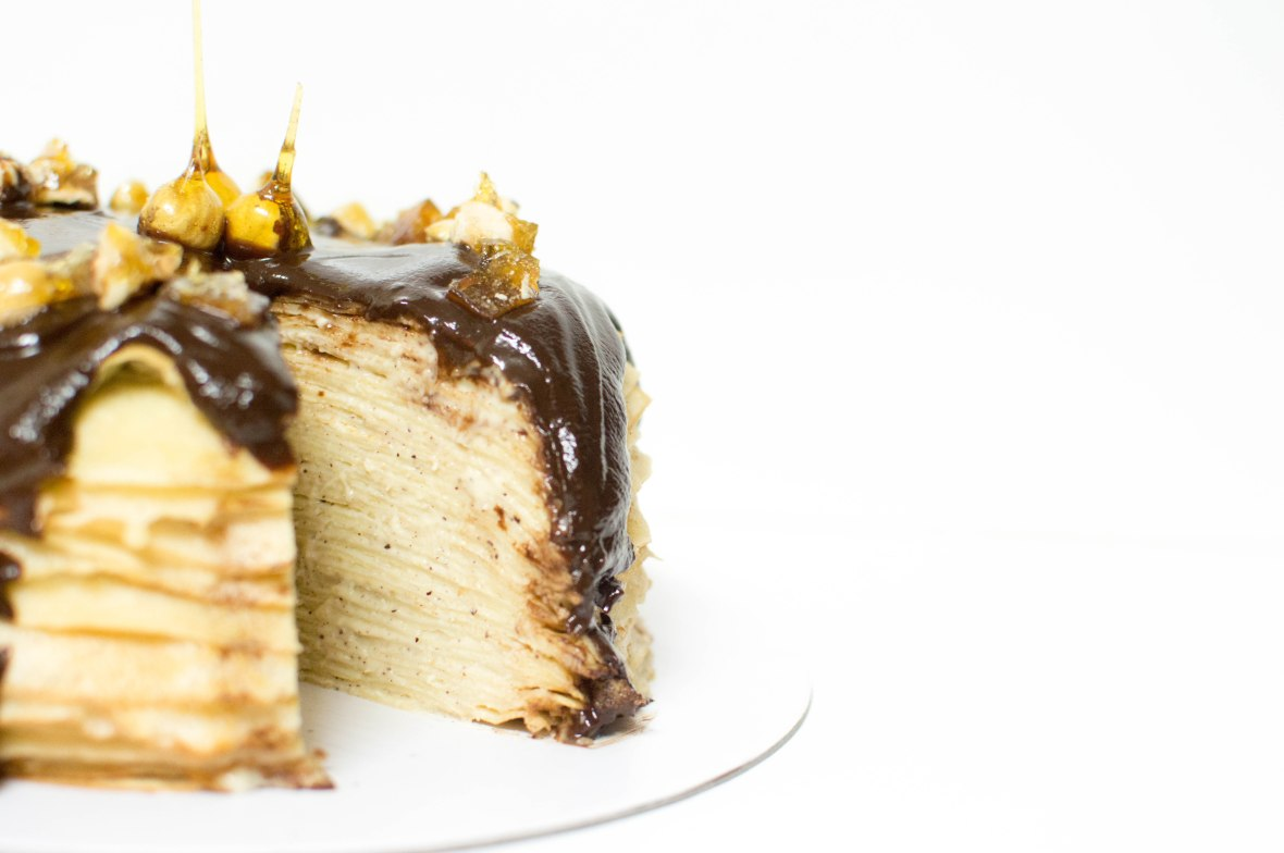 Chocolate & Hazelnut Crepe Cake With Candied Hazelnut Decoration