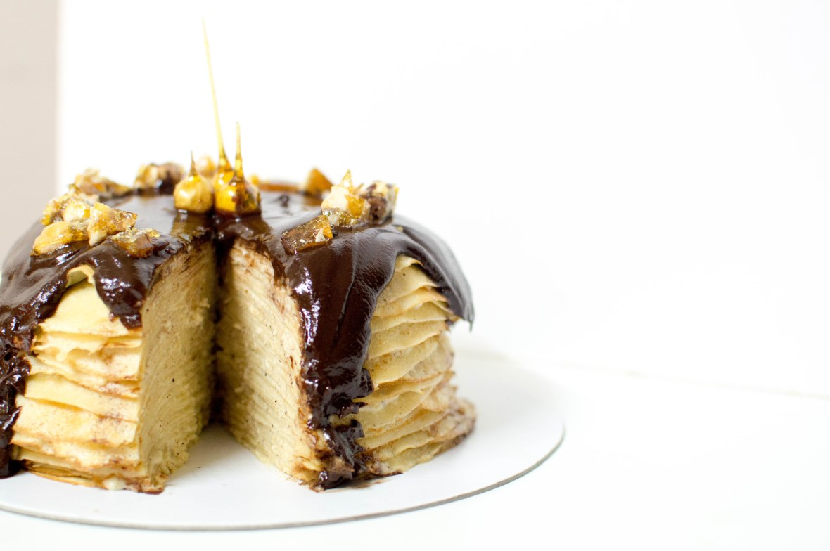 Chocolate & Hazelnut Pancake Cake With Hazelnut Praline