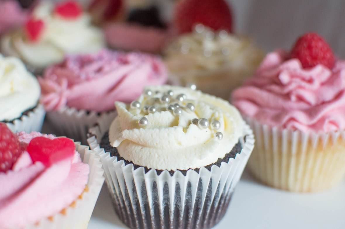 Hearts, Sprinkles And Fruity Cupcakes