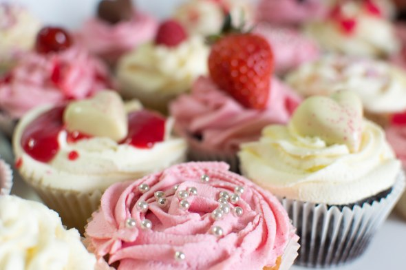 Pink & White Buttermilk Cupcakes