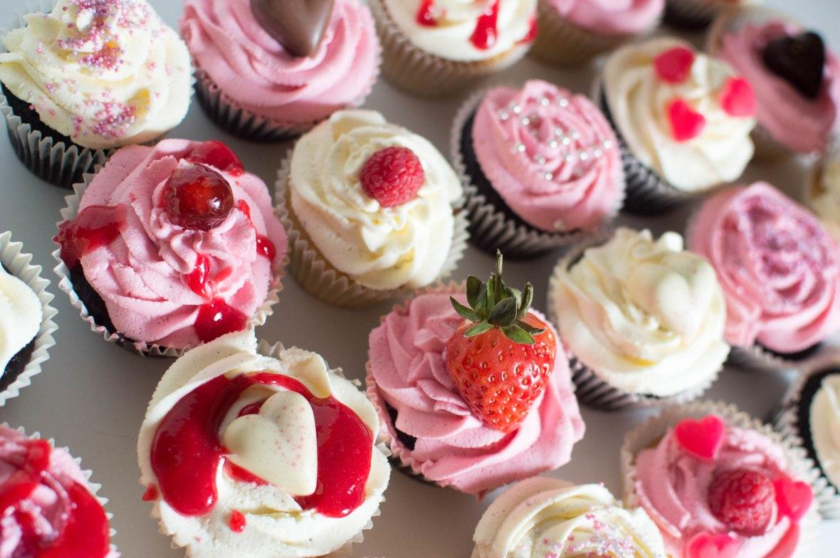 Red, Pink & White Vanilla And Chocolate Cupcakes
