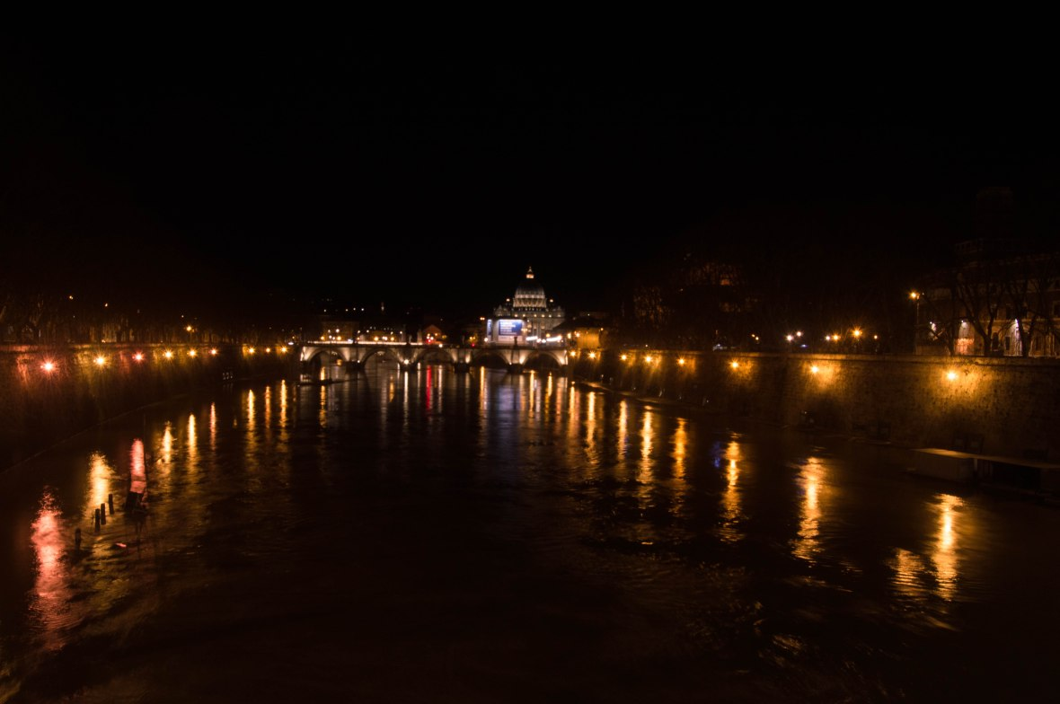 Basilica Di San Pietro From Ponte Sisto Bridge At Night, Rome, Italy