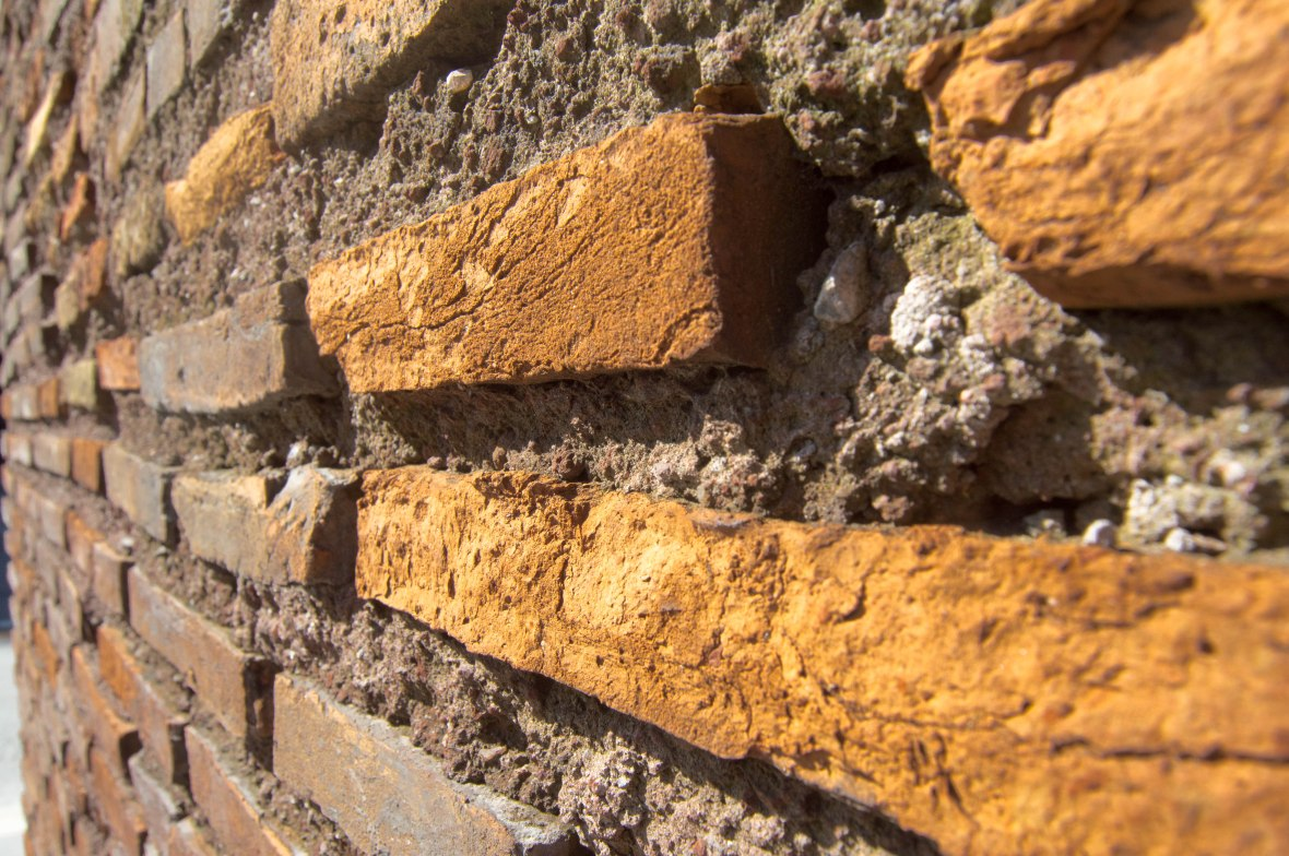 Bricks Close Up, Walls Opposite The Colosseum, Rome, Italy