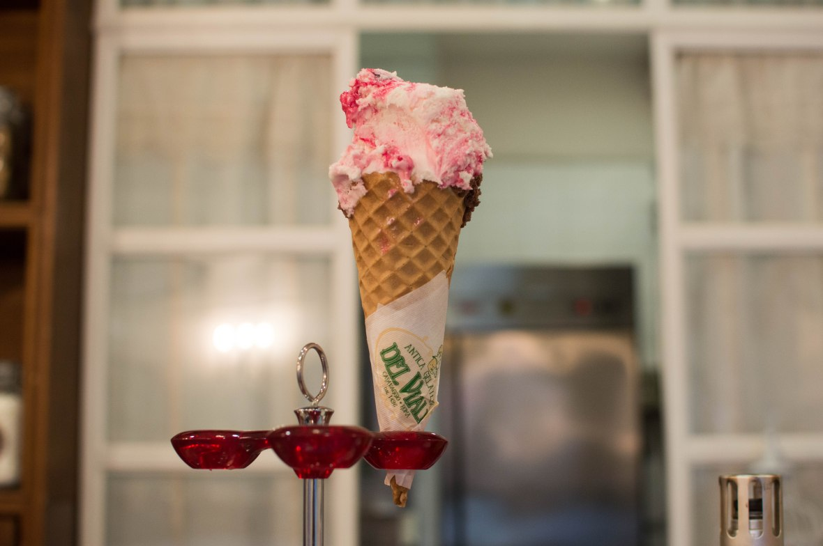 Cherry Swirl And Chocolate Hazelnut Gelato, Gelateria del Viale, Rome, Italy
