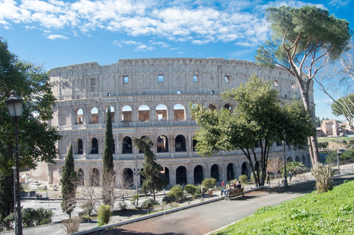 Colosseum From The Park, Rome, Italy