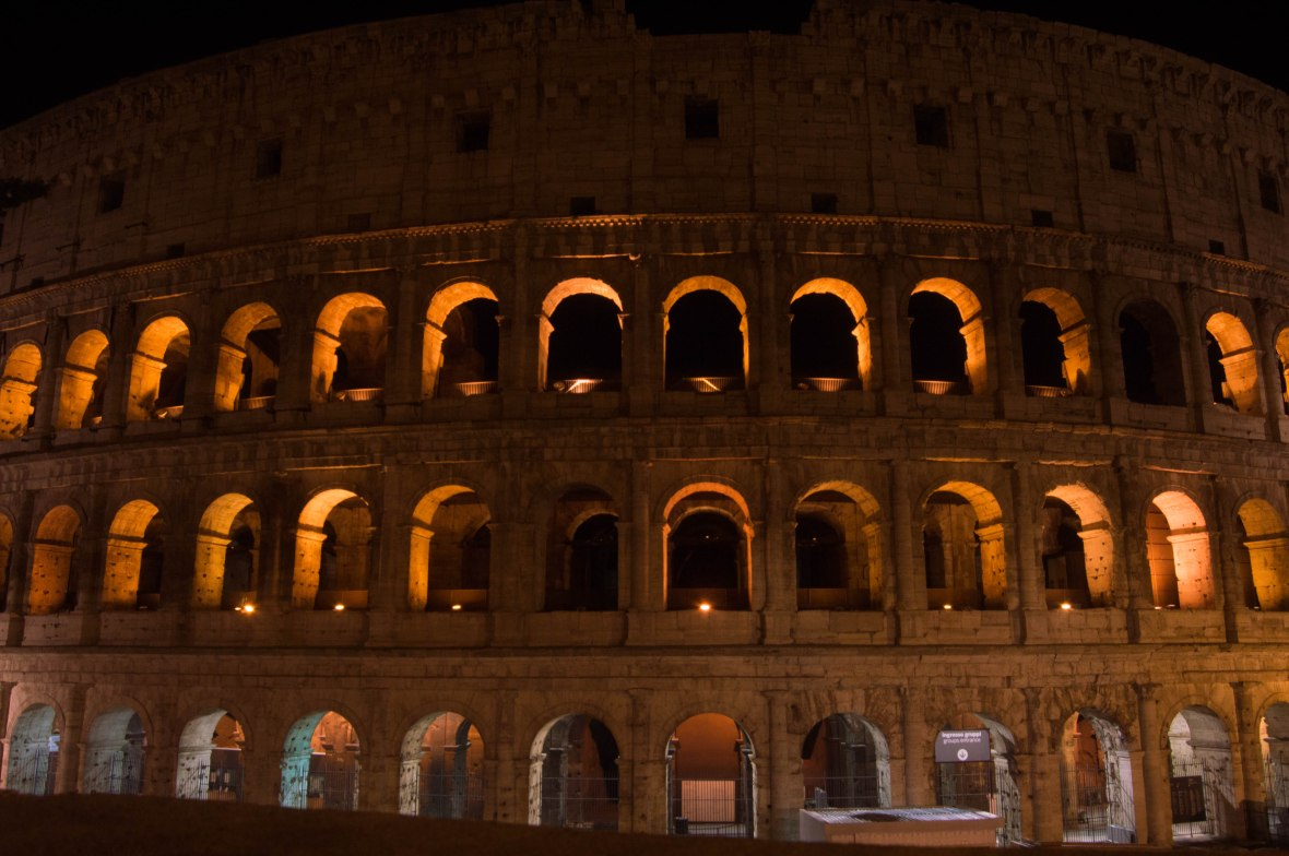 Colosseum, Lit Up At Night, Rome, Italy