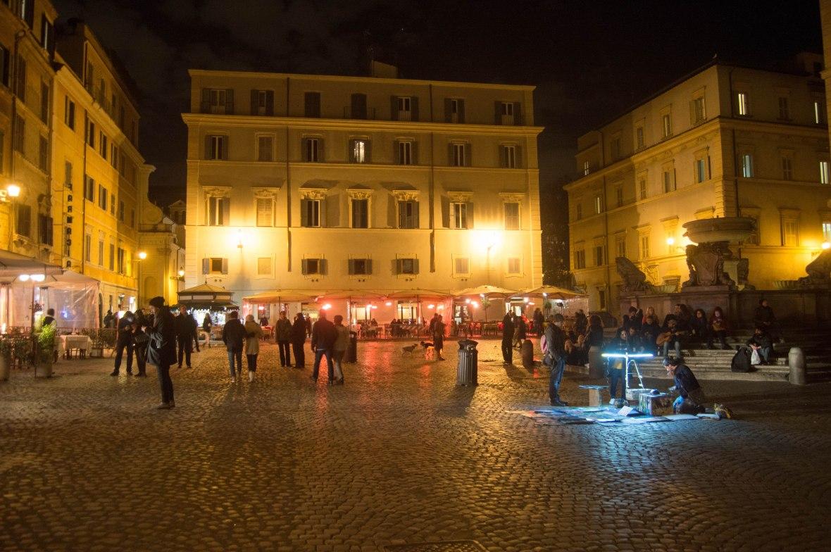 Evening Market, Piazza Di S Maria In Trastevere, Rome, Italy