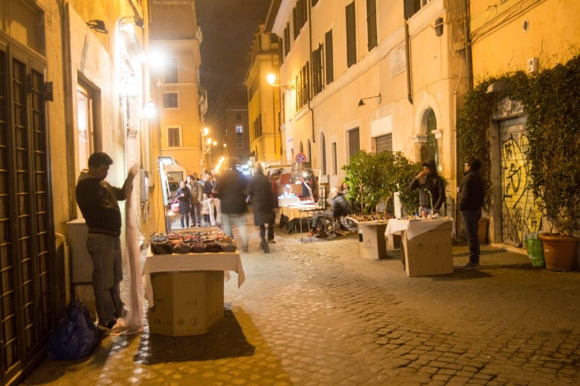 Evening Market, Via Della Lungaretta, Rome, Italy
