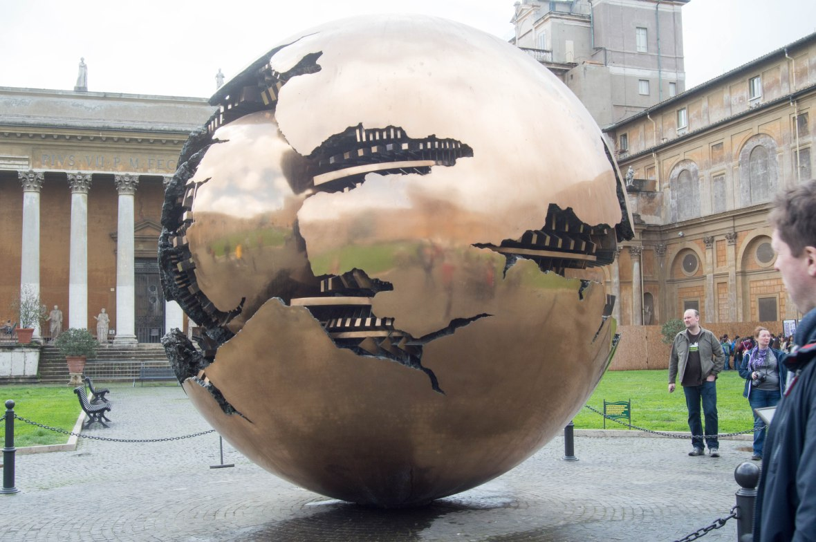 Giant Fractured Sphere At The Vatican Museum