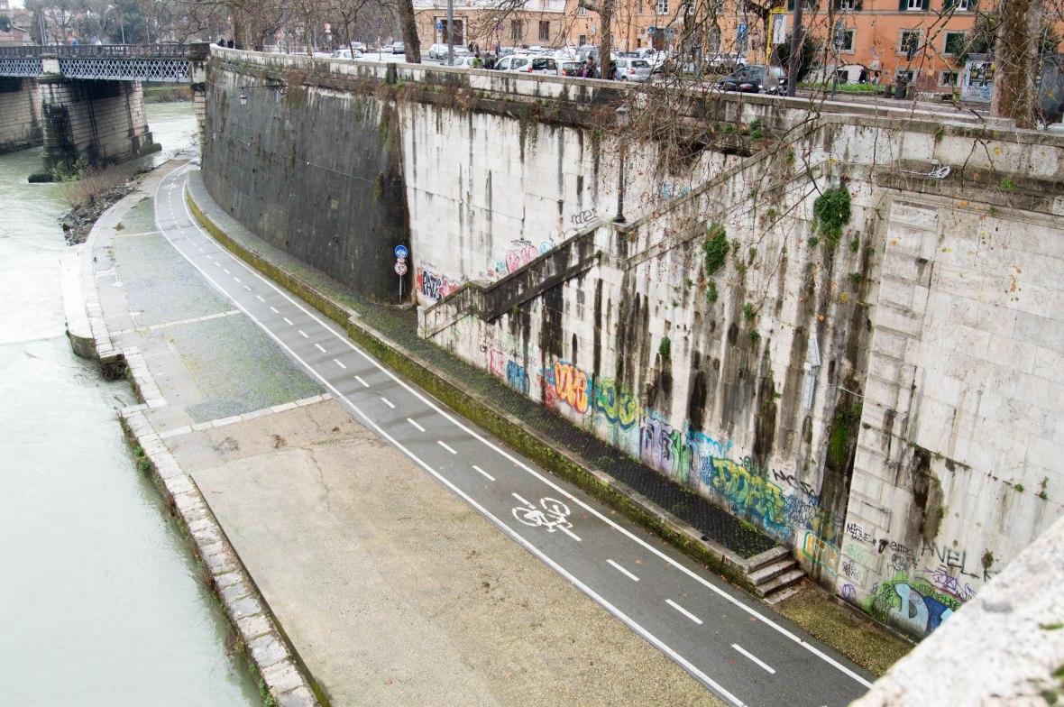 Graffiti, River Tiber, Rome, Italy