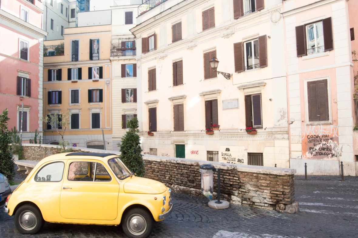 Little Yellow Car On The Streets Of Rome, Italy