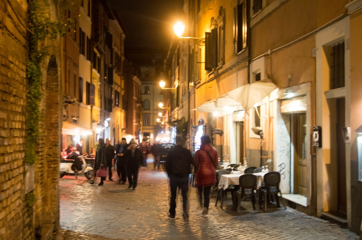 Walking Through Trastevere In The Evening, Rome