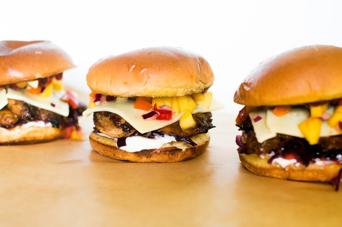 BBQ Chicken Burgers With Red Cabbage Coleslaw And Mango Salsa