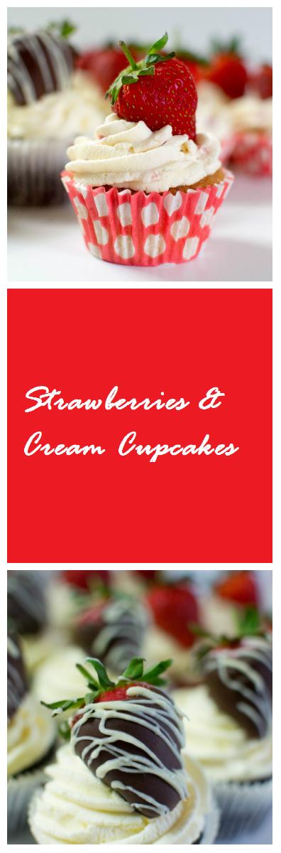 Chocolate and Vanilla, Strawberries & Cream Cupcakes